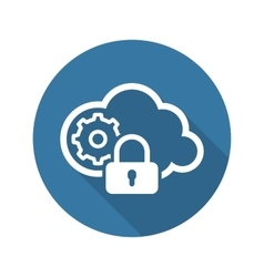 Secured Cloud Processing Icon Flat Design vector