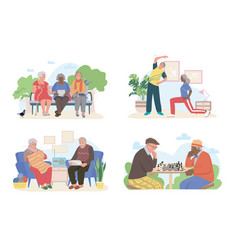 Senior people at home doing different activities vector