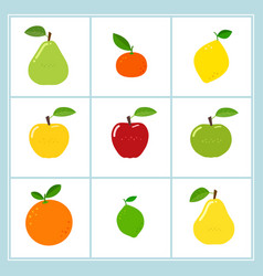 set of cartoon fruit icons vector image