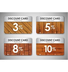 Set of wooden discount cards vector