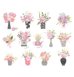 set summer cartoon flowers in n pots and vase vector image