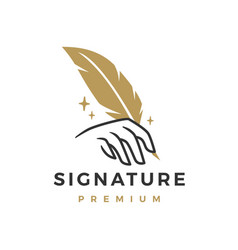 signature feather pen hand writing logo icon vector image