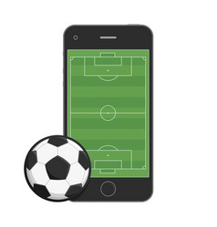 smartphone soccer field and ball vector image