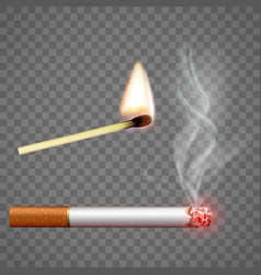 Smoldering cigarette and a burning match vector