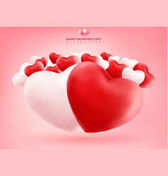 soft and smooth red and white valentines hearts vector image