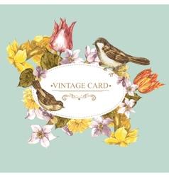 Spring Floral Retro Card with Bird Sparrows vector image