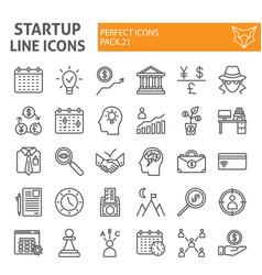 startup line icon set finance symbols collection vector image