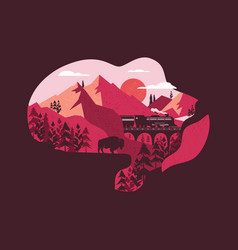 summer adventure in wild nature design vector image