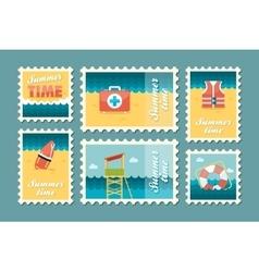 Summertime stamp set flat vector