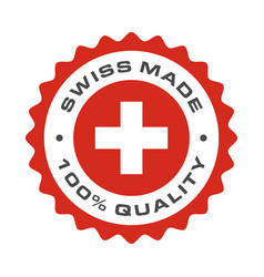 swiss made quality switzerland flag seal vector image