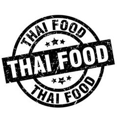 thai food round grunge black stamp vector image