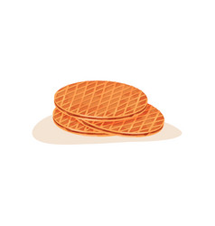 three round freshly-baked waffles with chocolate vector image