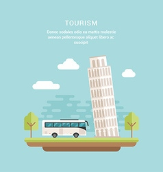Tourism Concept Flat Style Leaning Tower of Pisa vector image