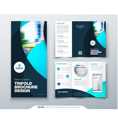 Tri fold brochure design with circle corporate vector