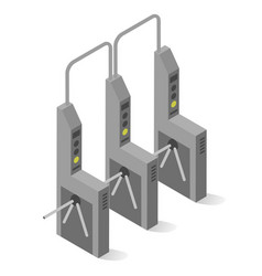 Turnstile mechanical gate post with arms vector