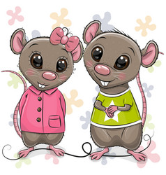 Two cartoon rats on a flowers background vector