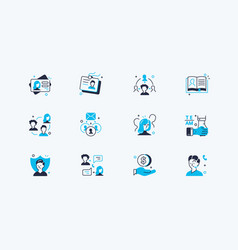 users icons set vector image