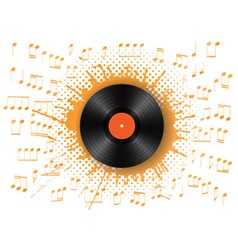 vinyl and notes stylized with ink blot vector image