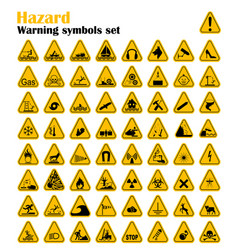 Warning hazard triangle signs set vector