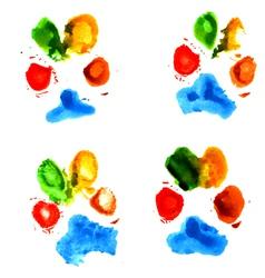 Watercolor animal paw prints vector