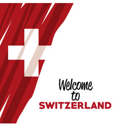 White background of welcome to switzerland with vector