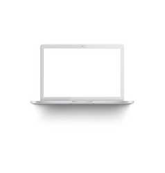 White laptop mockup with blank screen vector