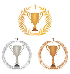 Winner cup trophies set laurel wreath golden vector