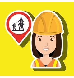 woman and electricity isolated icon design vector image