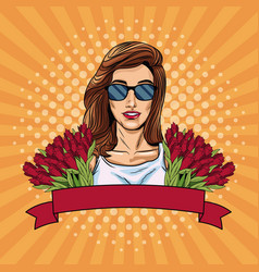 woman pop art with ribbon banner and flowers vector image