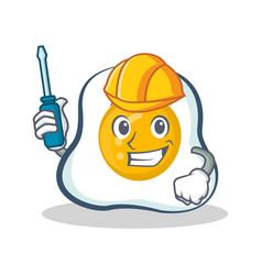 automotive fried egg character cartoon vector image