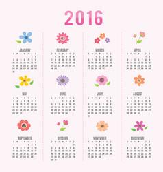 calendar 2016 flower cute cartoon vector image vector image