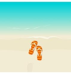 Flip flops on sea beach vector image