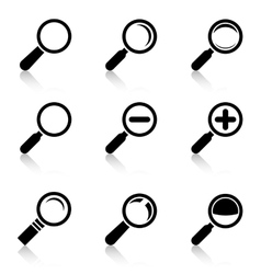 Magnifier Glass Icons with reflection vector image vector image