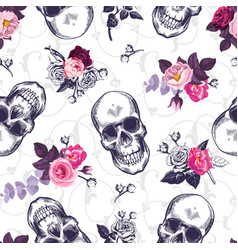 seamless pattern with human skulls and half vector image vector image