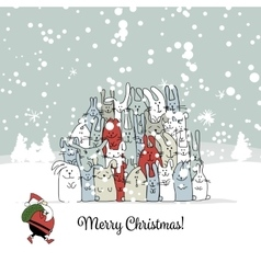 Christmas card with santa and rabbit family vector image vector image