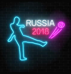 football world cup 2018 in russia neon glowing vector image