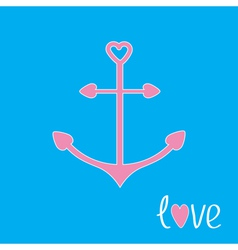 Pink anchor with shapes of heart Love card vector image vector image