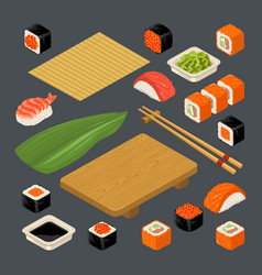 Set icon sushi nigiri and rolls served with vector