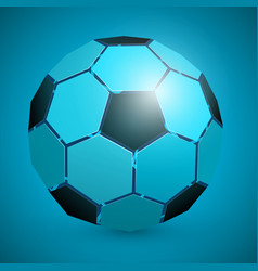 abstract soccer ball 3d blue vector image