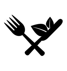 cutlery with leafs healthy food vector image