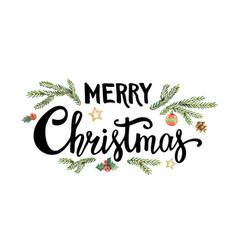 merry christmas lettering with watercolor fir vector image