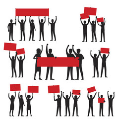 protesters silhouettes with red streamers set vector image