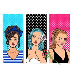 retro girls banners vector image
