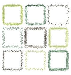 Set of 9 decorative square frames vector