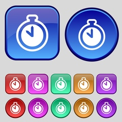 The stopwatch icon sign A set of twelve vintage vector image