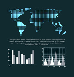 world map infographic information report network vector image