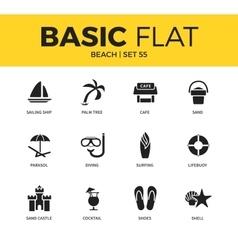 Basic set of beach icons vector image