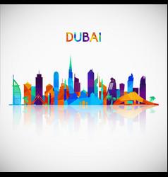 Dubai skyline silhouette in colorful geometric vector