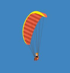 man paragliding on a parachute descending vector image