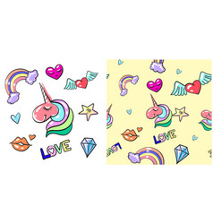 seamless pattern and fashion cute love vector image